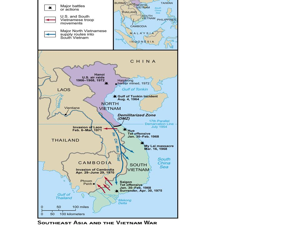 Vietnam War 1960s-1973 Through the Kennedy years, US troops trained S. Vietnamese troops to fight the Reds. After the Gulf of Tonkin Resolution, under