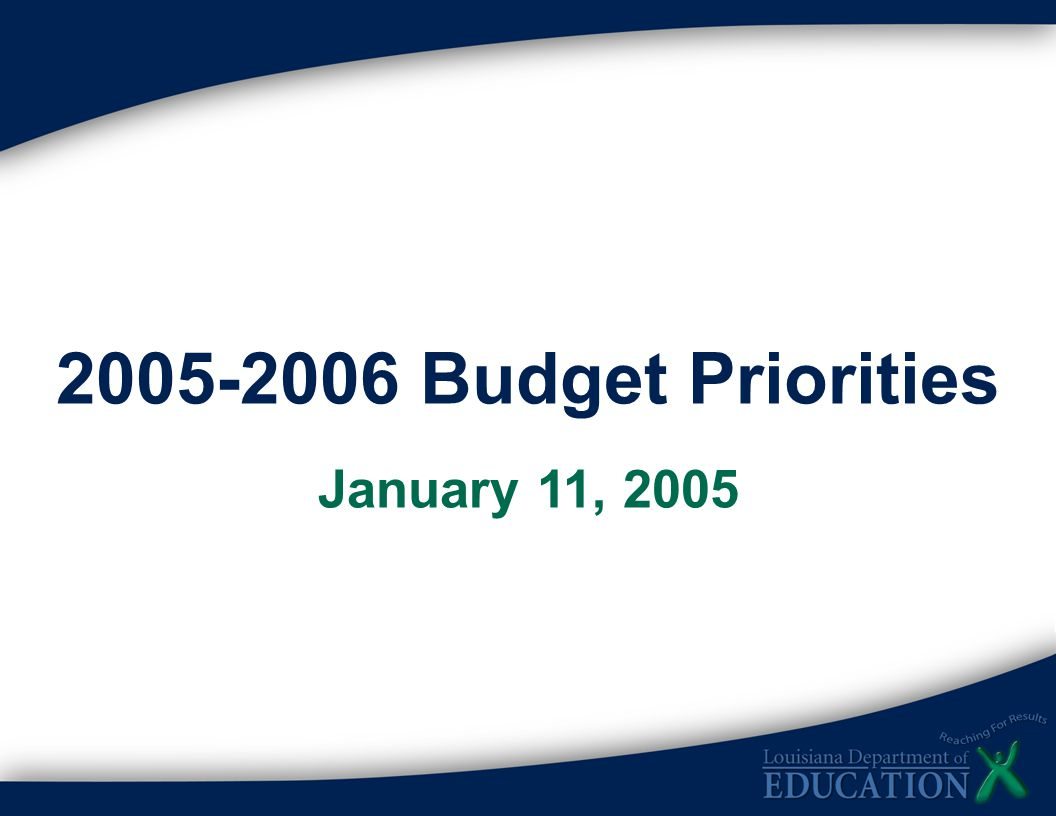 2005-2006 Budget Priorities January 11, 2005