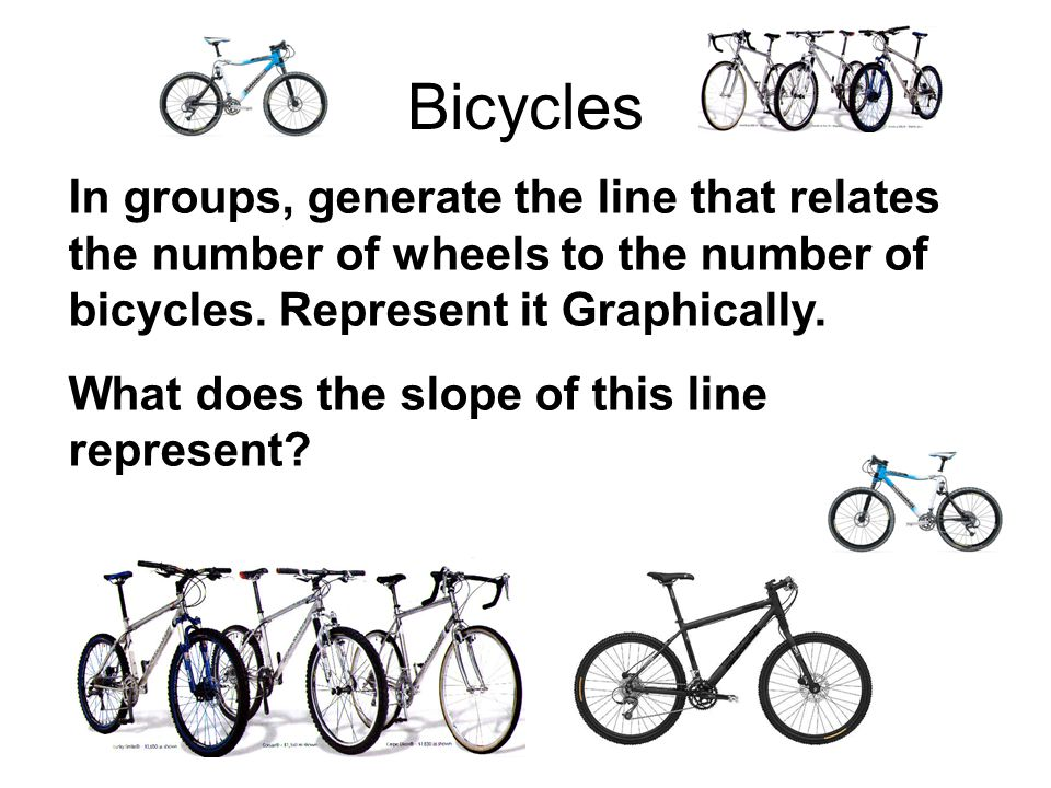 Bicycles In groups, generate the line that relates the number of wheels to the number of bicycles.