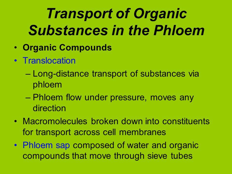 Organic Compounds Translocation –Long-distance transport of substances via phloem –Phloem flow under pressure, moves any direction Macromolecules brok