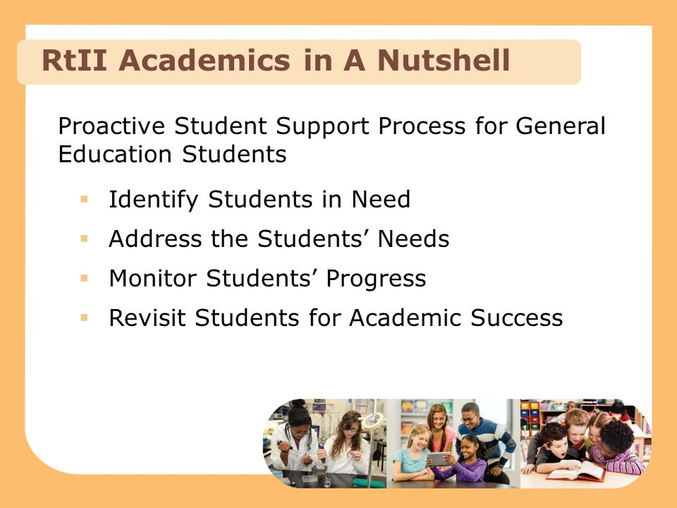 Proactive Student Support Process for General Education Students  Identify Students in Need  Address the Students' Needs  Monitor Students' Progres