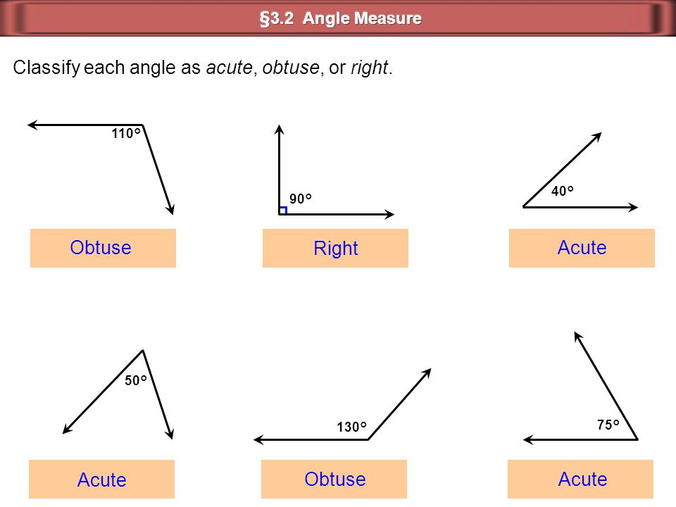 Classify each angle as acute, obtuse, or right. 110° 90° 40° 50° 130° 75° Obtuse Obtuse Acute Acute Acute Right