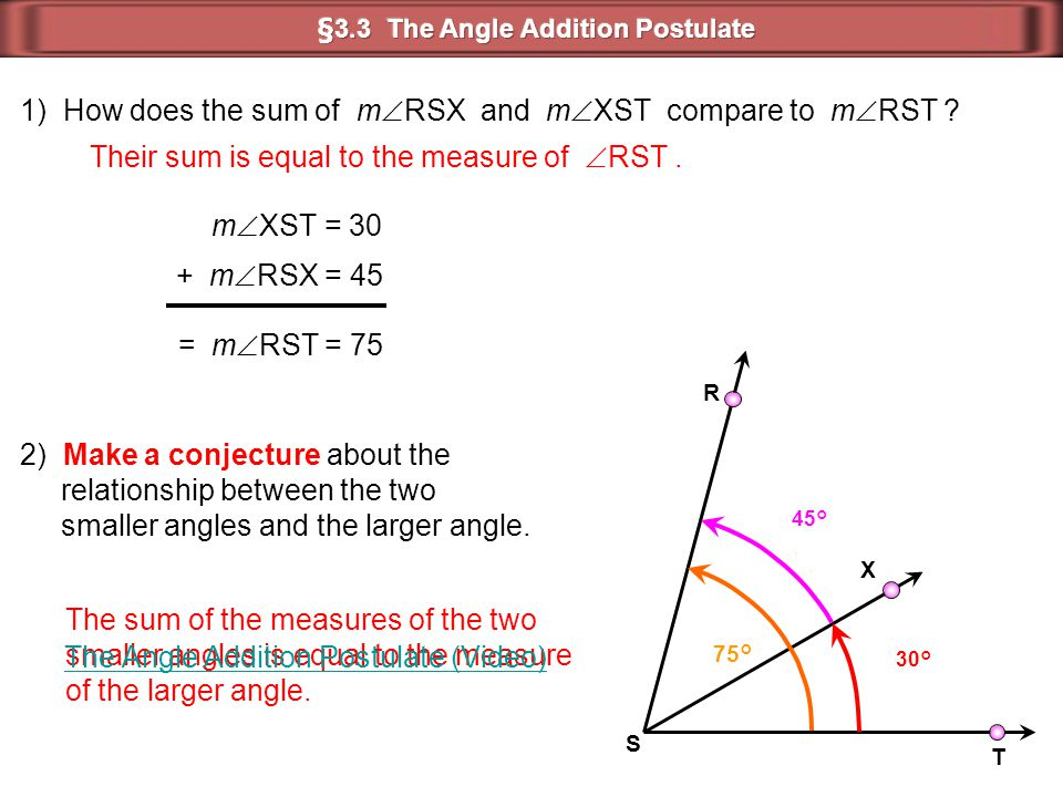 R T S X 30° 45° 75° = m  RST = 75 m  XST = 30 + m  RSX = 45 1) How does the sum of m  RSX and m  XST compare to m  RST ? 2) Make a conjecture ab