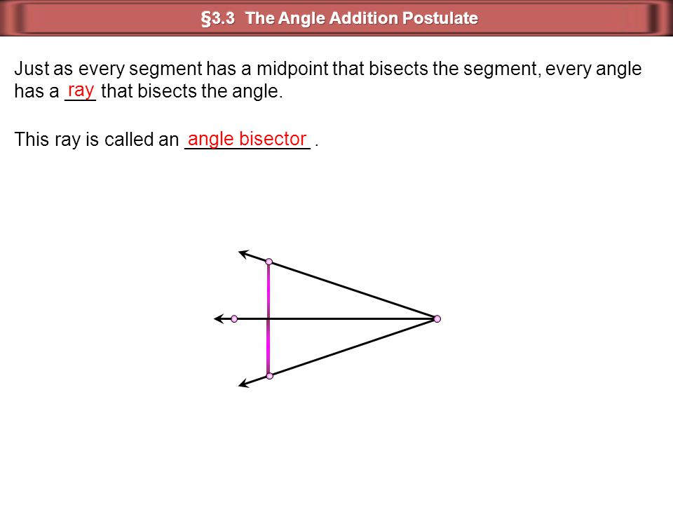 Just as every segment has a midpoint that bisects the segment, every angle has a ___ that bisects the angle. ray This ray is called an ____________. a