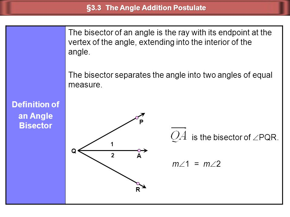 Definition of an Angle Bisector The bisector of an angle is the ray with its endpoint at the vertex of the angle, extending into the interior of the a