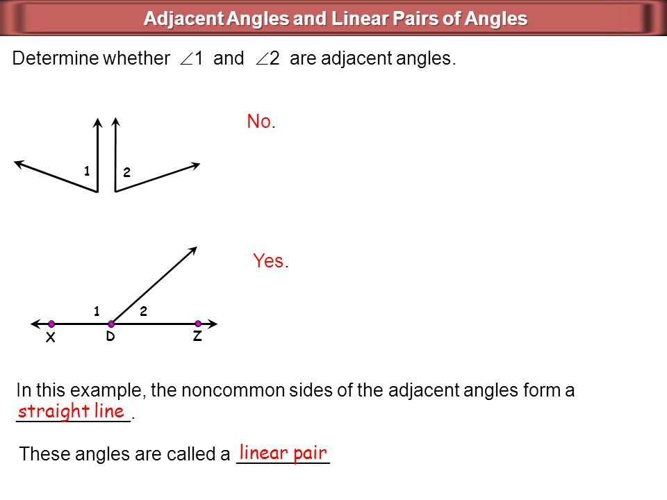 Determine whether  1 and  2 are adjacent angles. No. 2 1 Yes. 1 2 X D Z In this example, the noncommon sides of the adjacent angles form a _________