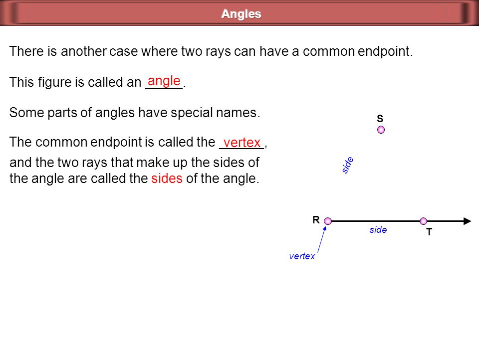 There is another case where two rays can have a common endpoint. R S T This figure is called an _____. angle Some parts of angles have special names.