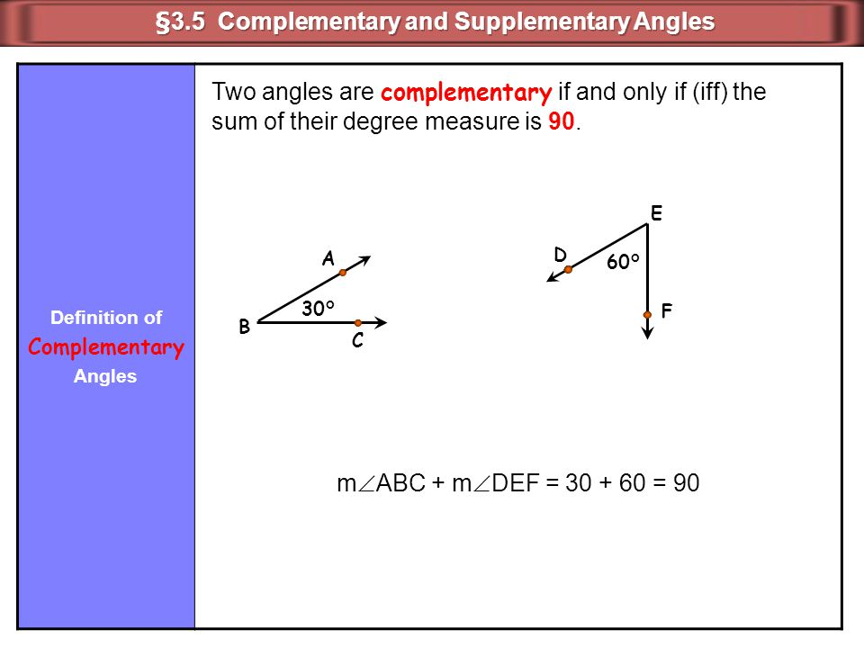 Definition of Complementary Angles 30° A B C 60° D E F Two angles are complementary if and only if (iff) the sum of their degree measure is 90. m  AB