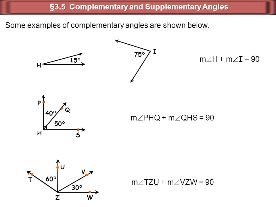 15° H 75° I Some examples of complementary angles are shown below. m  H + m  I = 90 m  PHQ + m  QHS = 90 50° H 40° Q P S 30° 60° T U V W Z m  TZU
