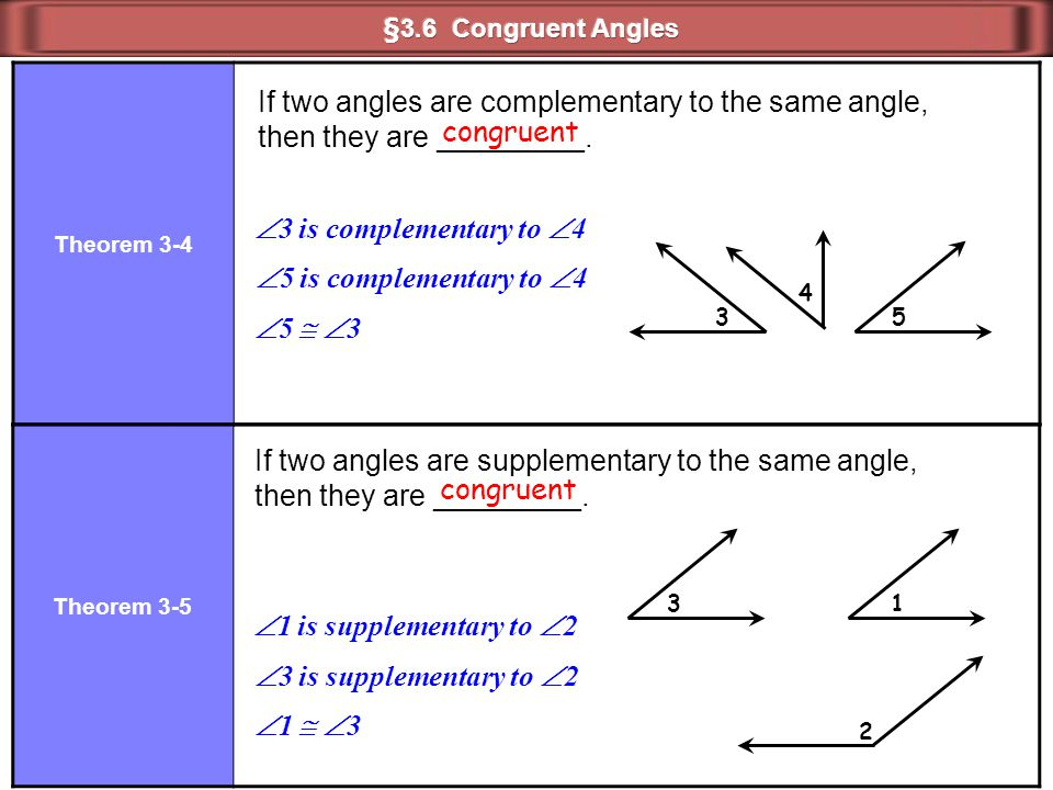 Theorem 3-4 If two angles are complementary to the same angle, then they are _________.  3 is complementary to  4 3 5 Theorem 3-5 If two angles are