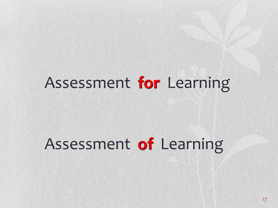 17 for of Assessment for Learning Assessment of Learning