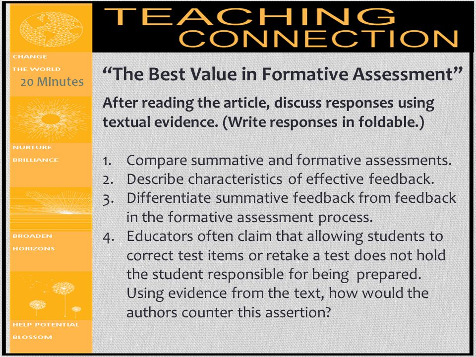 """""""The Best Value in Formative Assessment"""" After reading the article, discuss responses using textual evidence. (Write responses in foldable.) 1.Compare"""