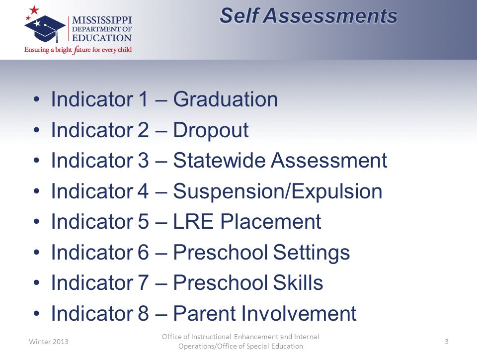Indicator 1 – Graduation Indicator 2 – Dropout Indicator 3 – Statewide Assessment Indicator 4 – Suspension/Expulsion Indicator 5 – LRE Placement Indicator 6 – Preschool Settings Indicator 7 – Preschool Skills Indicator 8 – Parent Involvement Winter 2013 Office of Instructional Enhancement and Internal Operations/Office of Special Education 3