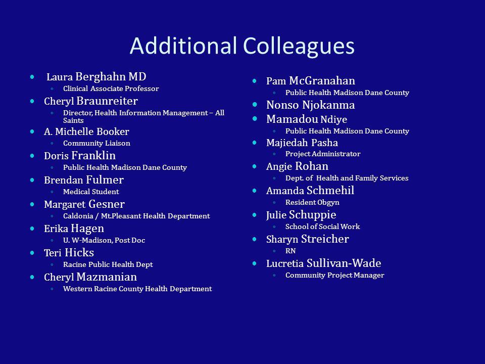 Additional Colleagues Laura Berghahn MD Clinical Associate Professor Cheryl Braunreiter Director, Health Information Management – All Saints A. Michel