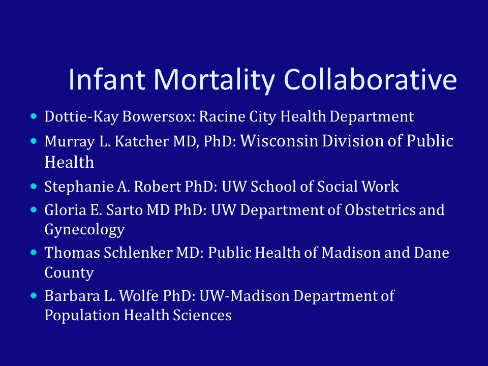 Infant Mortality Collaborative Dottie-Kay Bowersox: Racine City Health Department Murray L.