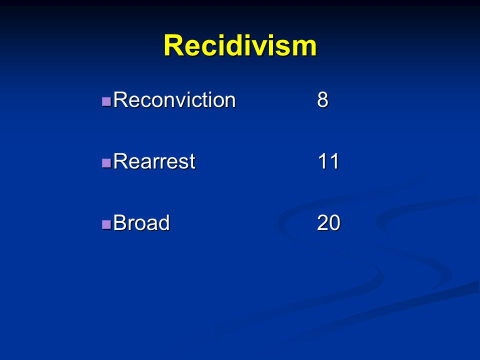 Recidivism Reconviction8 Reconviction8 Rearrest11 Rearrest11 Broad20 Broad20