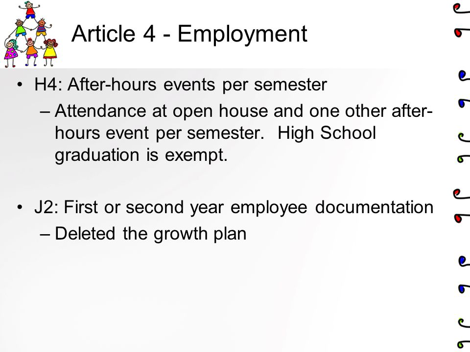 Article 4 - Employment H4: After-hours events per semester –Attendance at open house and one other after- hours event per semester.