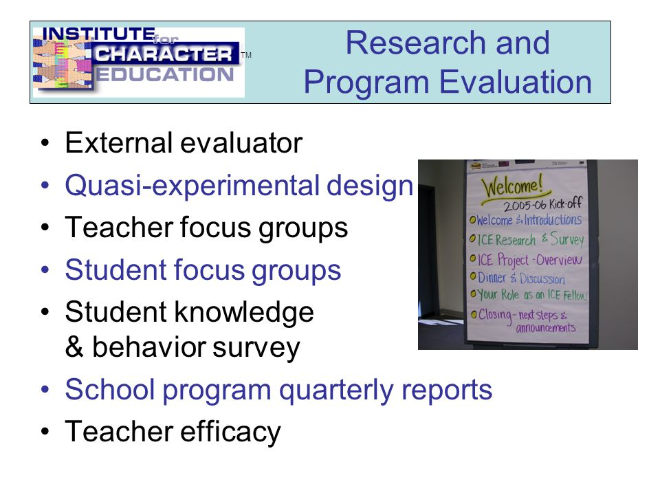 Tool and Processes Provide Data for Planning & Improvement K-W-L charts for promising practices Goal setting Reflection on implementing practices Bi-weekly written logs Assessing participants' lesson plans Training evaluations Minute papers