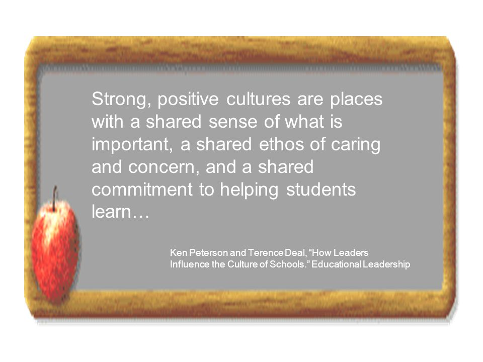 Strong, positive cultures are places with a shared sense of what is important, a shared ethos of caring and concern, and a shared commitment to helpin
