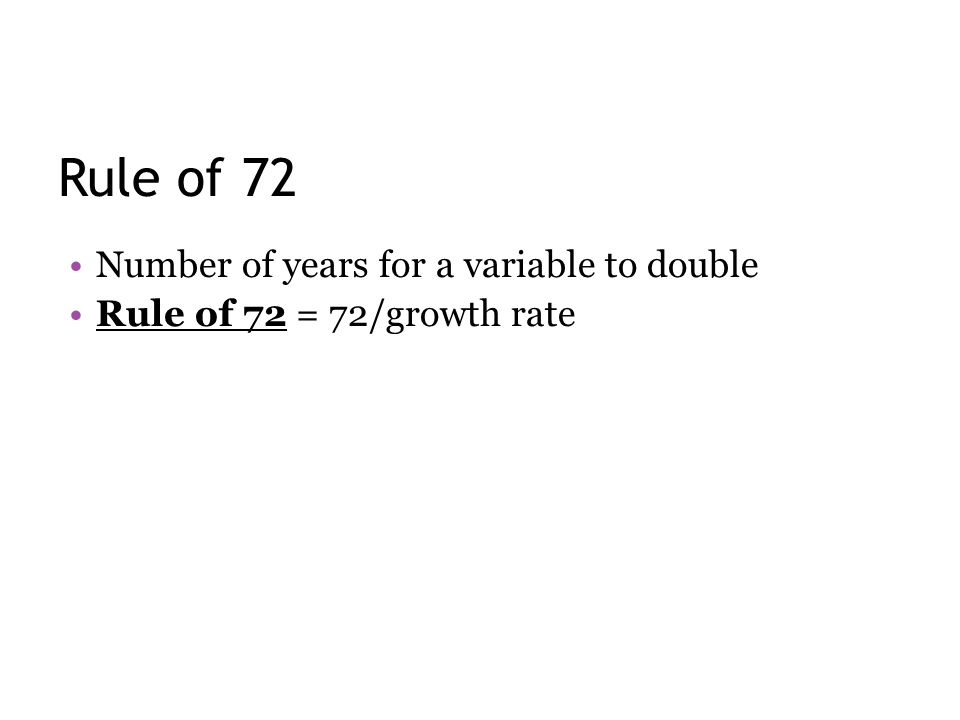 Rule of 72 Number of years for a variable to double Rule of 72 = 72/growth rate