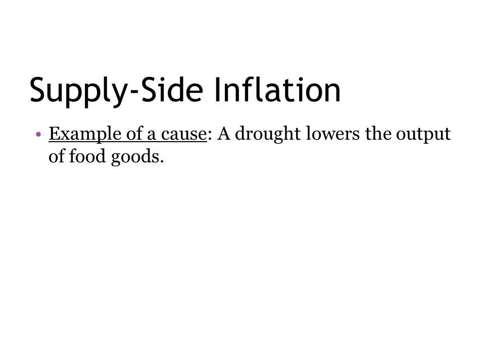 Supply-Side Inflation Example of a cause: A drought lowers the output of food goods.