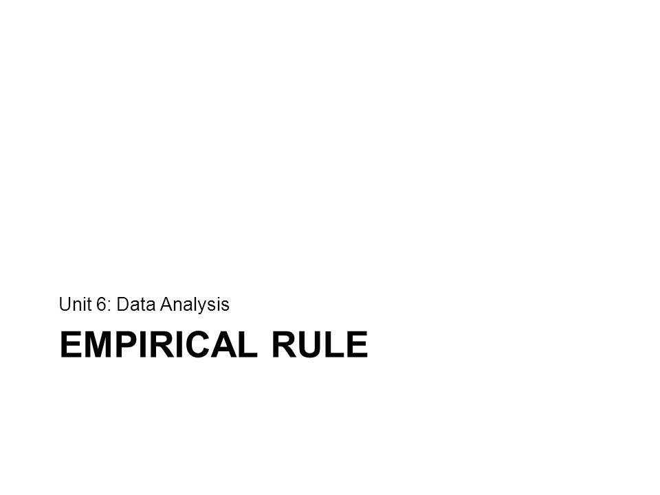 EMPIRICAL RULE Unit 6: Data Analysis