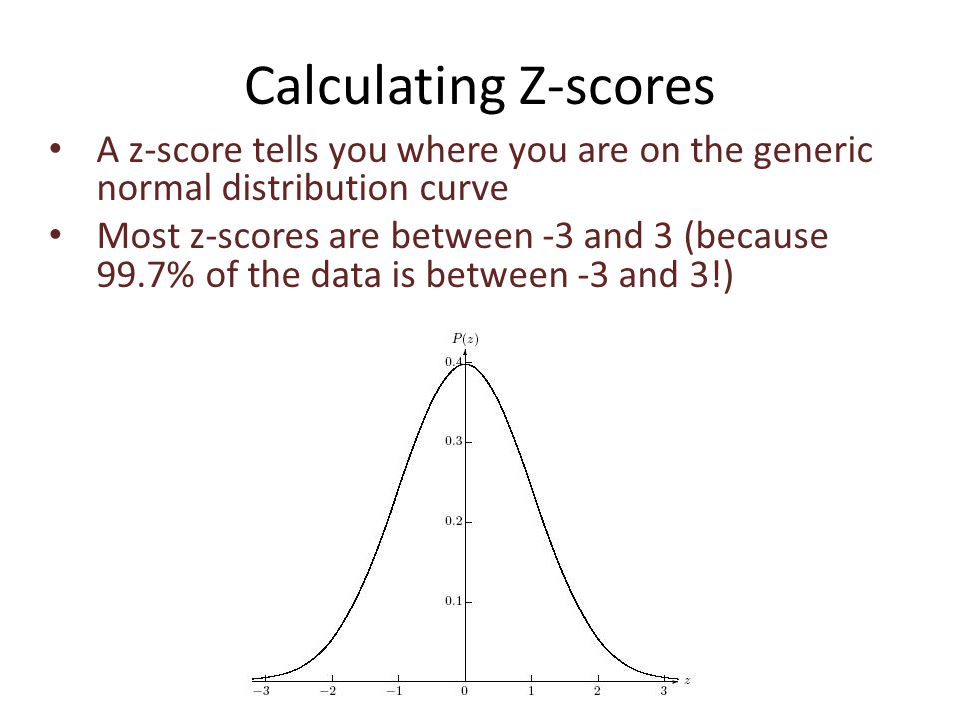 Calculating Z-scores A z-score tells you where you are on the generic normal distribution curve Most z-scores are between -3 and 3 (because 99.7% of the data is between -3 and 3!)