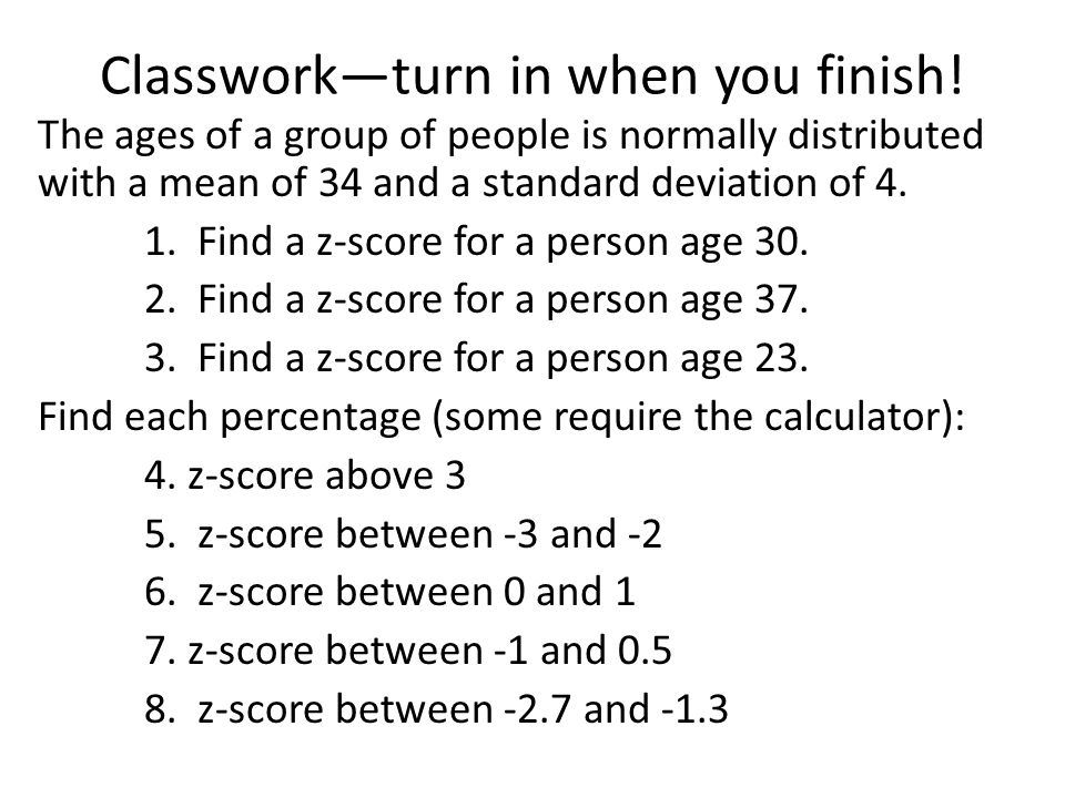 Classwork—turn in when you finish.