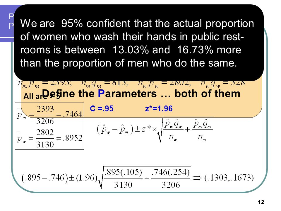 P m  actual proportion of men who wash their hands in public restrooms P w  actual proportion of women who wash their hands in public rr 12 Confiden