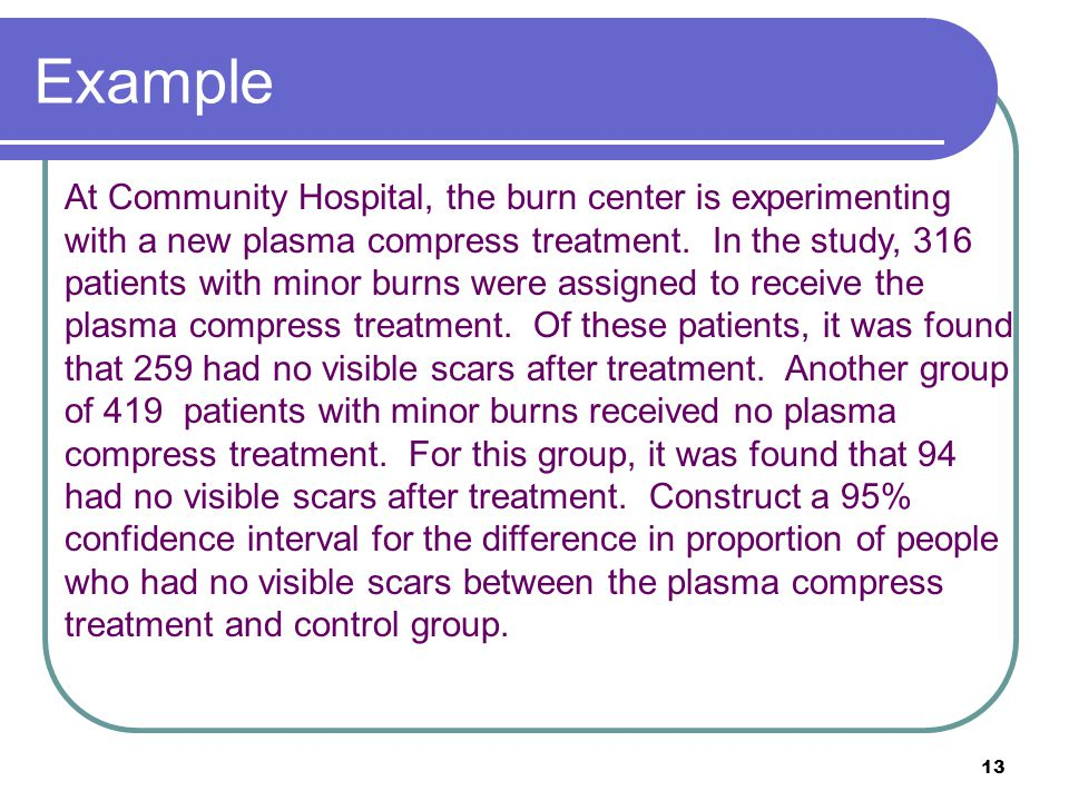 13 At Community Hospital, the burn center is experimenting with a new plasma compress treatment. In the study, 316 patients with minor burns were assi