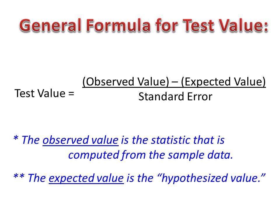 t.v.= ( X – µ ) X = ( σ / √n ) Sample mean µ =Hypothesized Value σ =Standard Deviation n =Sample Size