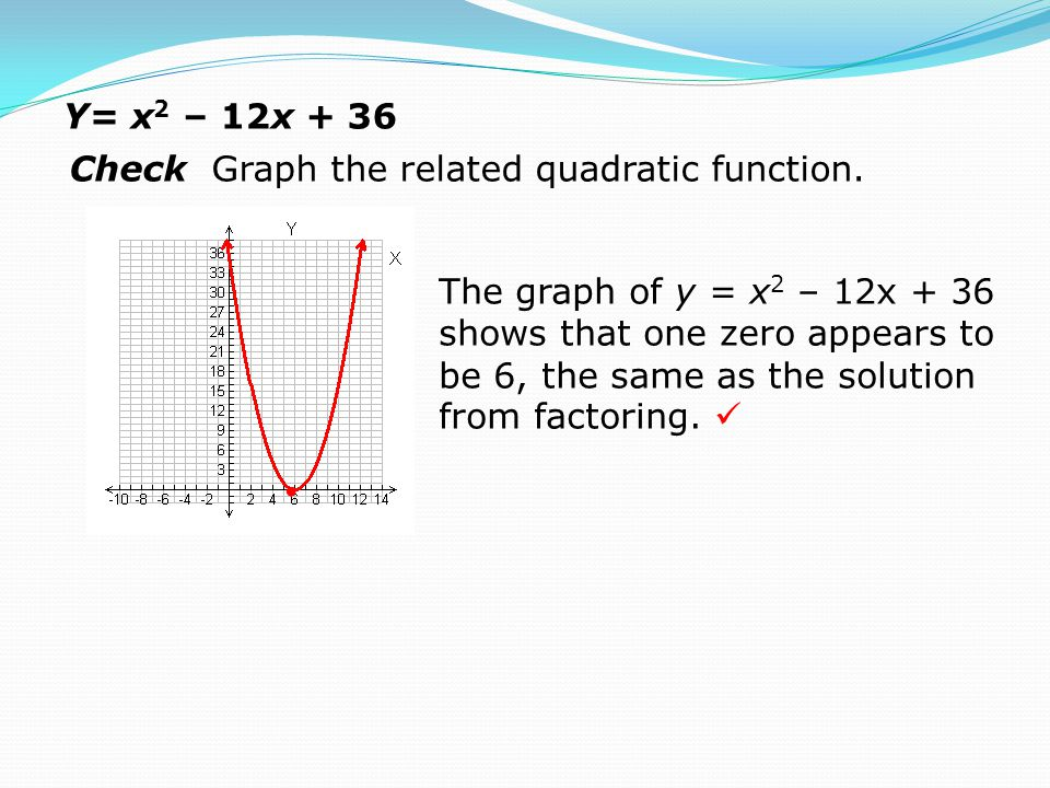 Y= x 2 – 12x + 36 Check Graph the related quadratic function. The graph of y = x 2 – 12x + 36 shows that one zero appears to be 6, the same as the sol