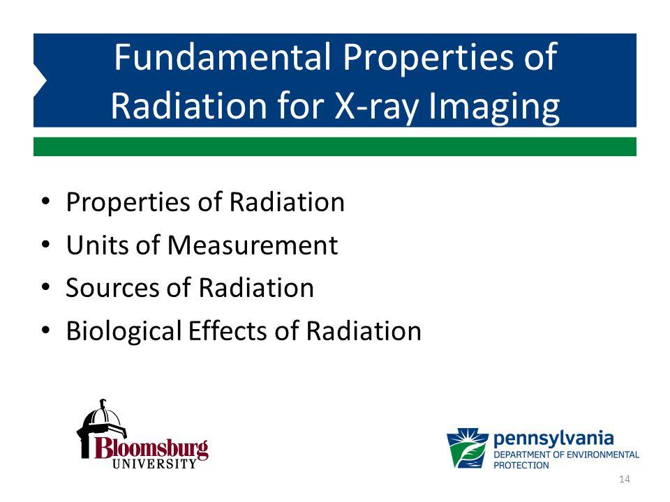 Properties of Radiation Units of Measurement Sources of Radiation Biological Effects of Radiation Fundamental Properties of Radiation for X-ray Imagin