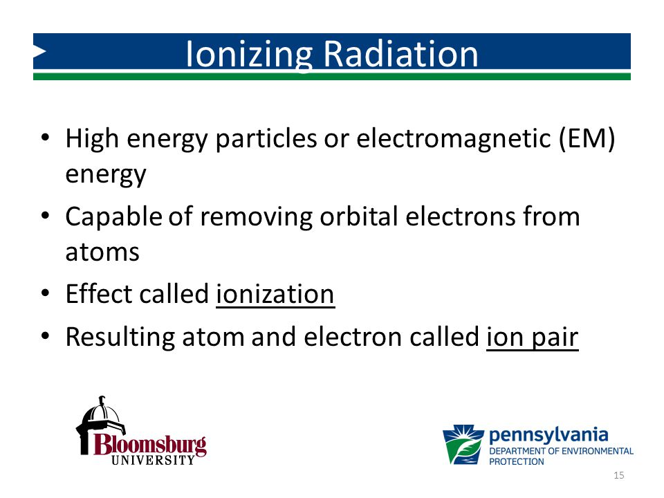 High energy particles or electromagnetic (EM) energy Capable of removing orbital electrons from atoms Effect called ionization Resulting atom and elec