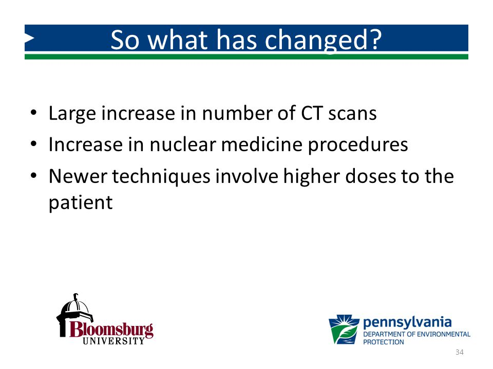 Large increase in number of CT scans Increase in nuclear medicine procedures Newer techniques involve higher doses to the patient So what has changed?