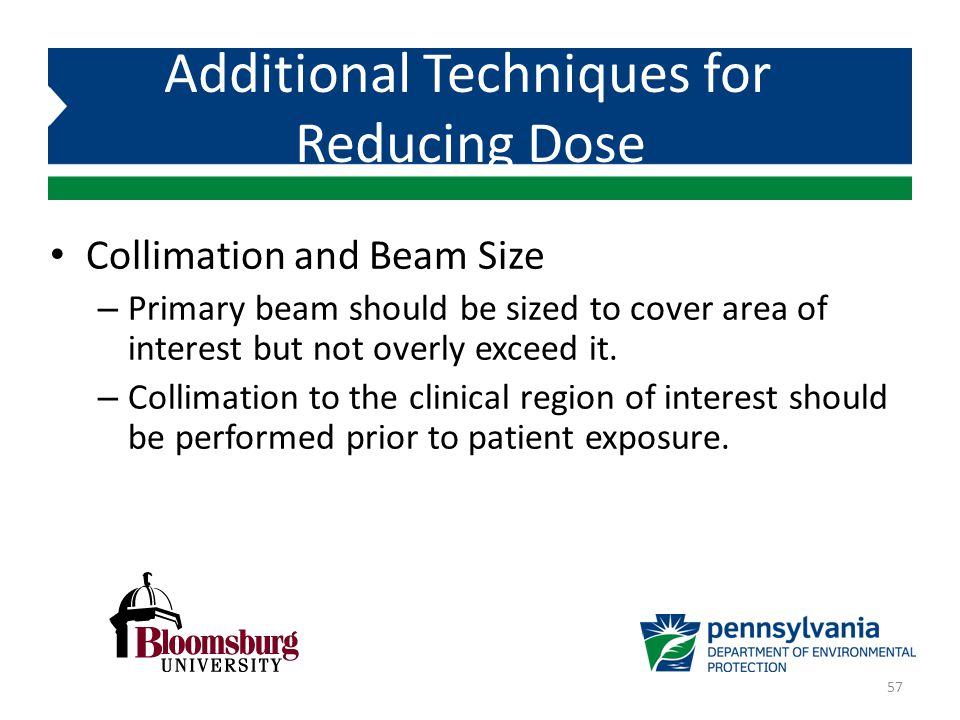 Collimation and Beam Size – Primary beam should be sized to cover area of interest but not overly exceed it. – Collimation to the clinical region of i