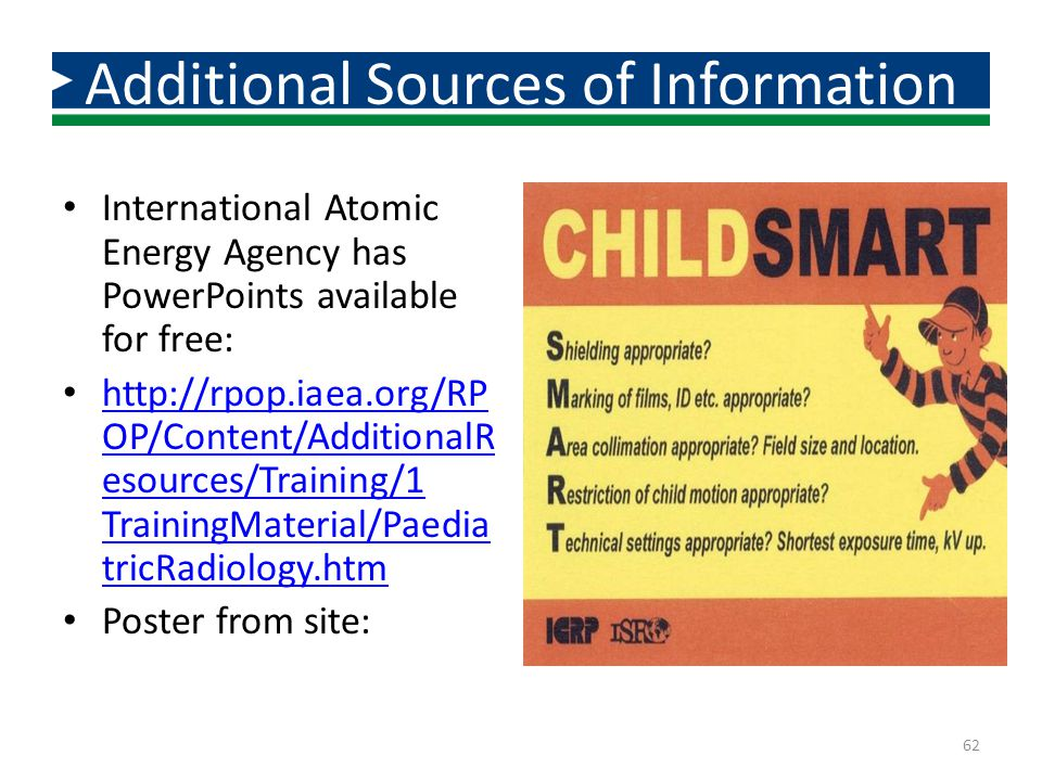 International Atomic Energy Agency has PowerPoints available for free: http://rpop.iaea.org/RP OP/Content/AdditionalR esources/Training/1 TrainingMate