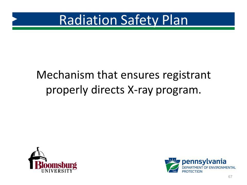 Mechanism that ensures registrant properly directs X-ray program. Radiation Safety Plan 67