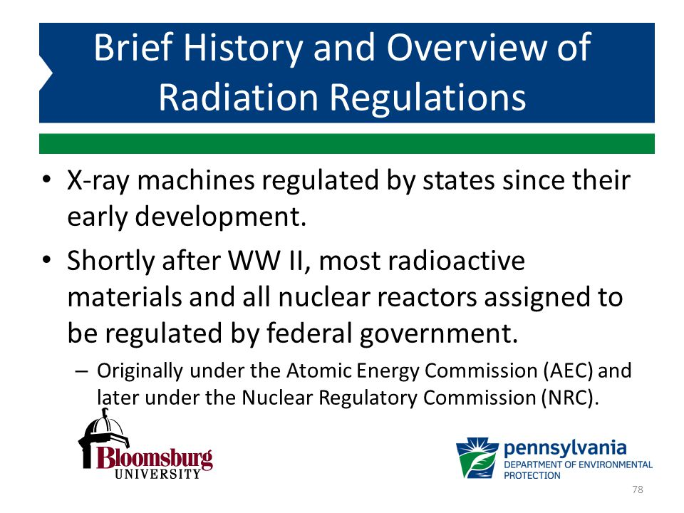X-ray machines regulated by states since their early development. Shortly after WW II, most radioactive materials and all nuclear reactors assigned to