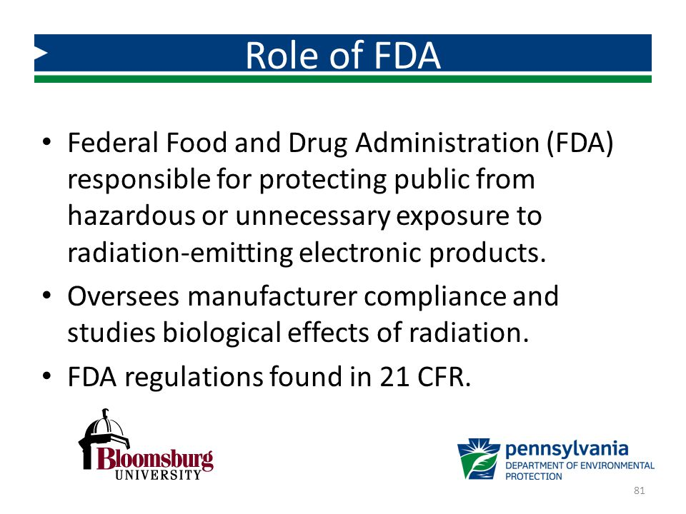 Federal Food and Drug Administration (FDA) responsible for protecting public from hazardous or unnecessary exposure to radiation-emitting electronic p