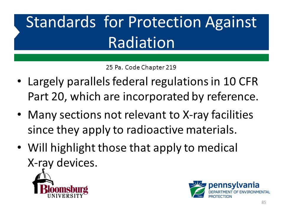 Largely parallels federal regulations in 10 CFR Part 20, which are incorporated by reference. Many sections not relevant to X-ray facilities since the