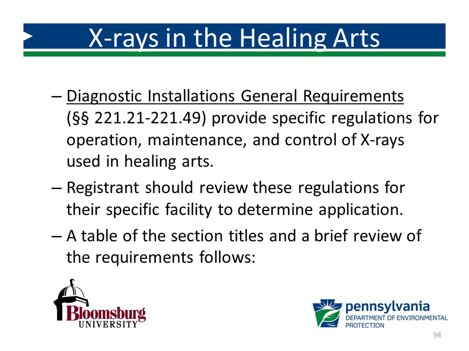 – Diagnostic Installations General Requirements (§§ 221.21-221.49) provide specific regulations for operation, maintenance, and control of X-rays used