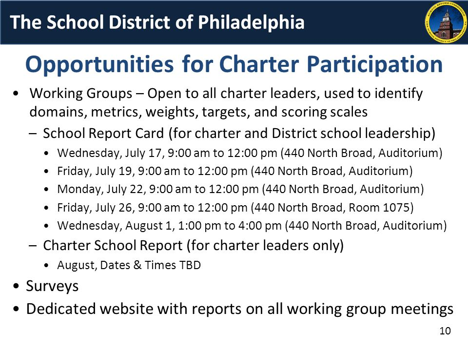 Working Groups – Open to all charter leaders, used to identify domains, metrics, weights, targets, and scoring scales –School Report Card (for charter and District school leadership) Wednesday, July 17, 9:00 am to 12:00 pm (440 North Broad, Auditorium) Friday, July 19, 9:00 am to 12:00 pm (440 North Broad, Auditorium) Monday, July 22, 9:00 am to 12:00 pm (440 North Broad, Auditorium) Friday, July 26, 9:00 am to 12:00 pm (440 North Broad, Room 1075) Wednesday, August 1, 1:00 pm to 4:00 pm (440 North Broad, Auditorium) –Charter School Report (for charter leaders only) August, Dates & Times TBD Surveys Dedicated website with reports on all working group meetings Opportunities for Charter Participation 10