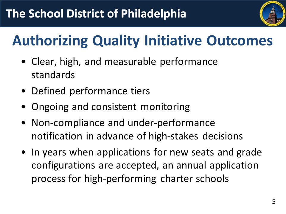 Authorizing Quality Initiative Outcomes Clear, high, and measurable performance standards Defined performance tiers Ongoing and consistent monitoring Non-compliance and under-performance notification in advance of high-stakes decisions In years when applications for new seats and grade configurations are accepted, an annual application process for high-performing charter schools 5