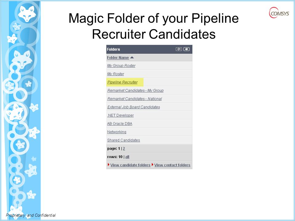 Proprietary and Confidential Magic Folder of your Pipeline Recruiter Candidates