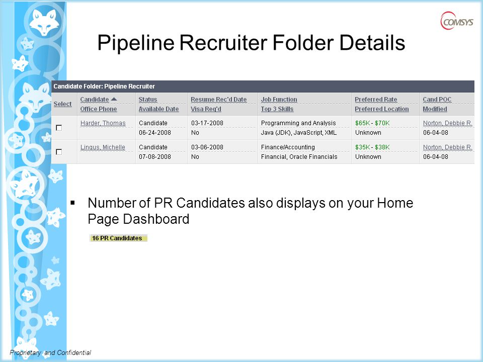 Proprietary and Confidential Pipeline Recruiter Folder Details  Number of PR Candidates also displays on your Home Page Dashboard