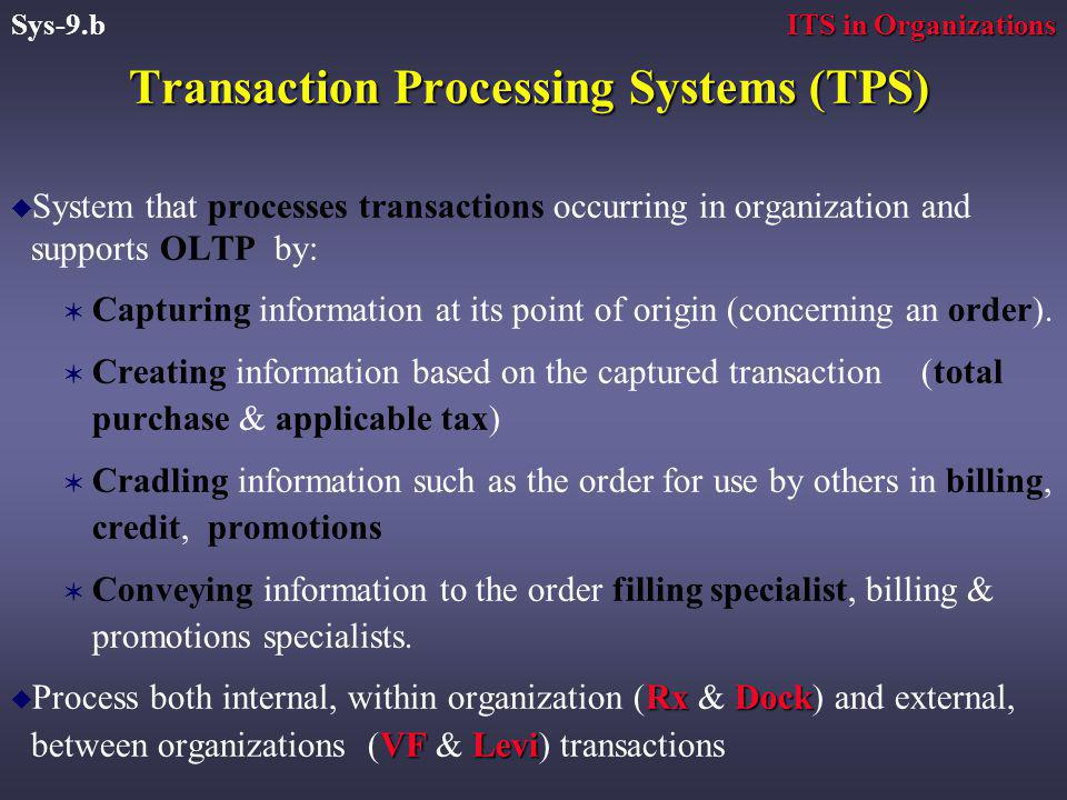 Transaction Processing Systems (TPS) u System that processes transactions occurring in organization and supports OLTP by: V Capturing information at its point of origin (concerning an order).