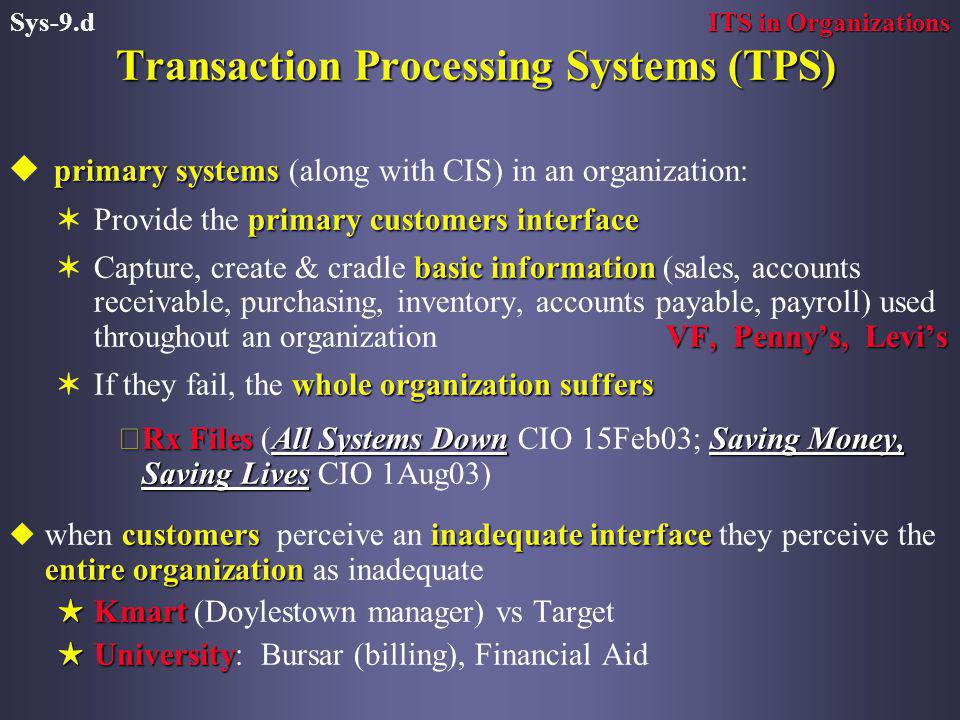 Transaction Processing Systems (TPS) primary systems u primary systems (along with CIS) in an organization: primary customers interface VProvide the primary customers interface basic information VF, Penny's, Levi's VCapture, create & cradle basic information (sales, accounts receivable, purchasing, inventory, accounts payable, payroll) used throughout an organization VF, Penny's, Levi's whole organization suffers VIf they fail, the whole organization suffers çRx FilesAll Systems DownSaving Money, Saving Lives çRx Files (All Systems Down CIO 15Feb03; Saving Money, Saving Lives CIO 1Aug03) customersinadequate interface entire organization uwhen customers perceive an inadequate interface they perceive the entire organization as inadequate HKmart HKmart (Doylestown manager) vs Target HUniversity HUniversity: Bursar (billing), Financial Aid ITS in Organizations Sys-9.d