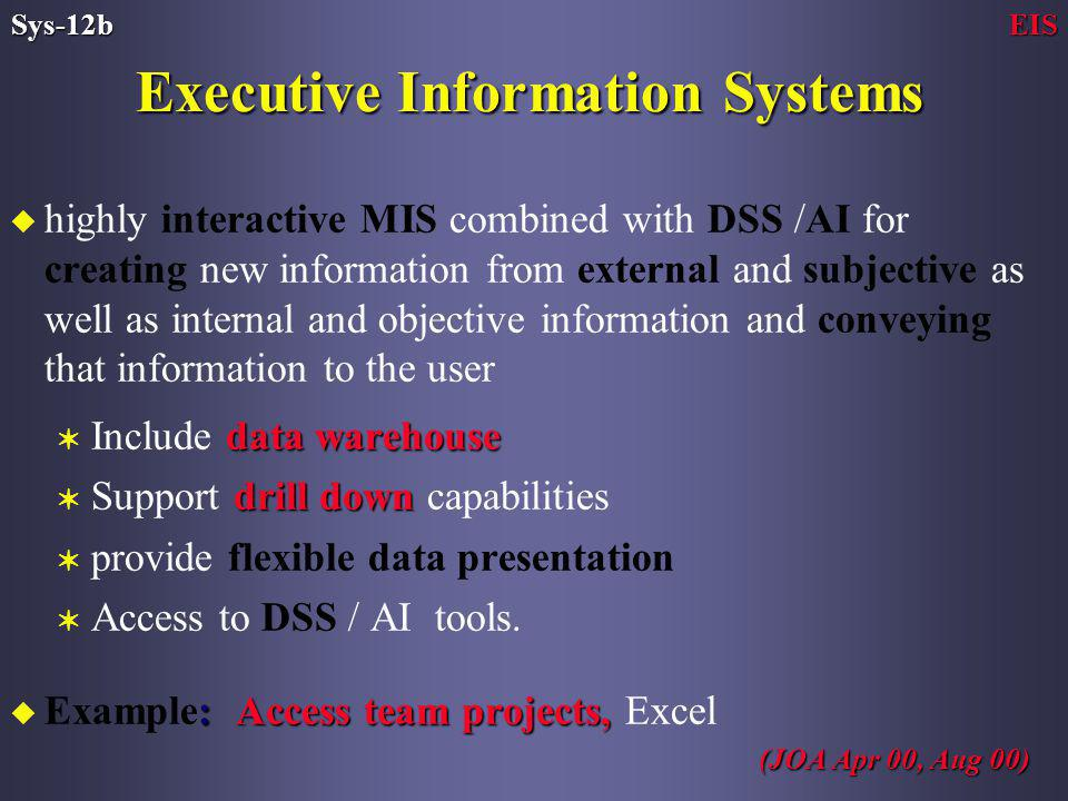 u highly interactive MIS combined with DSS /AI for creating new information from external and subjective as well as internal and objective information and conveying that information to the user data warehouse V Include data warehouse drill down V Support drill down capabilities V provide flexible data presentation V Access to DSS / AI tools.