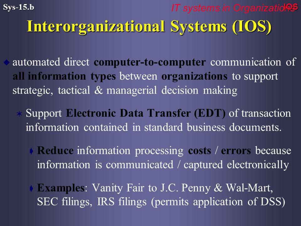 u automated direct computer-to-computer communication of all information types between organizations to support strategic, tactical & managerial decision making V Support Electronic Data Transfer (EDT) of transaction information contained in standard business documents.